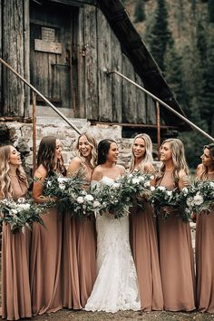 Marissa and Adam s Rustic Lush Ski Resort Wedding by Bethany Small - Boho Weddin. Marissa and Adam s Rustic Lush Ski Resort Wedding by Bethany Small – Boho Weddings For the Boho L Rustic Bridesmaid Dresses, Boho Wedding Dress, Wedding Party Dresses, Boho Bridesmaids, Boho Wedding Flowers, Bridesmaid Dress Colors, Rustic Wedding Dresses, Bridesmaid Ideas, Dresses Dresses