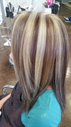Rich chocolate lowlights chunky blonde highlights bob by denise platinum blonde bold highlights with a golden brown base summer blonde diminsional salon envy pmusecretfo Choice Image