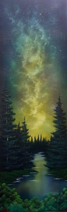 """Milky Way Landscape"" Wet on Wet Oil 12x36 inch canvas http://ift.tt/2sWNl8U"