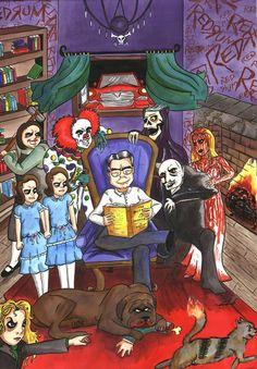 Stephen King by AnastasiaCatris on deviantART Horror Movie Characters, Horror Movies, Horror Villains, Funny Horror, Arte Horror, Horror Art, Stephen King Movies, Steven King, Horror Icons