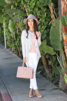 Grey & Pink Outfit:  The perfect feminine & casual weekend outfit  // Click the following link to see outfit details and photos:  http://www.stylishpetite.com/2014/11/loft-waterfall-cardigan-blush-ysl-and.html
