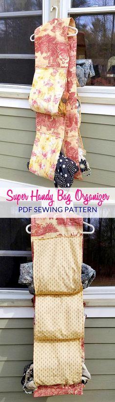 Super Handy Bag Organizer sewing pattern | small room storage | closet organization | home decor | girls room organization