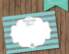 Frozen Thank You Card, Frozen Party, Frozen Birthday, Frozen Theme