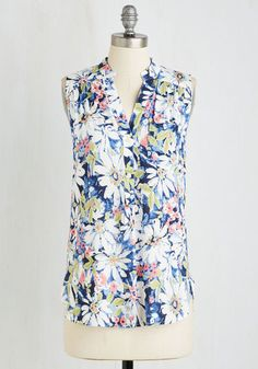 Polished and Poised Top - Mid-length, Woven, Blue, Floral, Print, Casual, Sleeveless, Summer, Good, V Neck