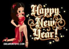 happy new year sexy tattooed betty boop dressed in a skimpy black outfit and high heels source betty boop by hilda lora created by lois