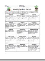 Spelling Homework Board Freebie