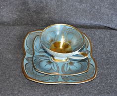 Vintage ALKA BAVARIA Luncheon Tea CUP SAUCER BREAD PLATE w/22k gold West Germany