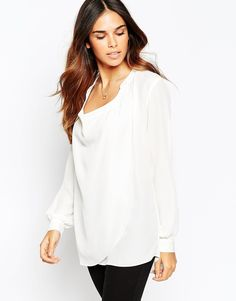 """Top by ASOS Collection Lightweight woven fabric Low cowl neckline Drape front detail Buttoned cuffs Regular fit - true to size Machine wash 100% Polyester Our model wears a UK 8/EU 36/US 4 and is 168 cm/5'6"""" tall"""