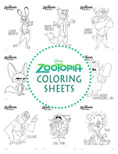 Zootopia Coloring Sheets from Disney with characters from the movie like Flash the sloth, Judy Hops, Nick Wilde, Chief Bogo, Mr. Flash The Sloth, Coloring Sheets, Coloring Pages, Zootopia Movie, 6th Birthday Parties, 4th Birthday, Festa Party, Coloring For Kids, Chief Bogo