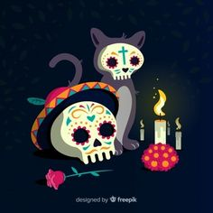 Bonito fondo de calavera con flores de colores en diseño plano | Descargar Vectores gratis Caveira Mexicana Tattoo, Day Of Death, Sugar Skull Cat, Day Of The Dead Art, Mexico Art, Skull Painting, Skull Art, Cute Wallpapers, Painting Inspiration