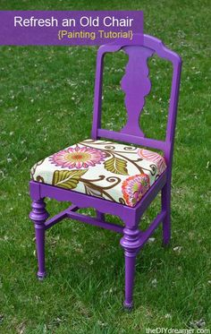 Do you have an old chair laying around? Learn how you can give it a fresh new look with fresh paint and reupholstering! How to Paint a Chair with BEHR paint! Great step by step painting tutorial.