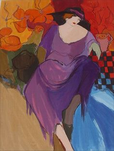 artist tarkay purple dress - Google Search