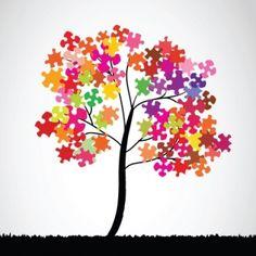 Ieder kind verft een puzzelstuk in zijn eigen kleur en bij elkaar heb je van de hele klas een gezellige boom