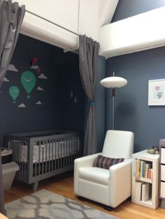 Love the darker color in a room with lots of light. Curtain would help with noise and nap time daylight.