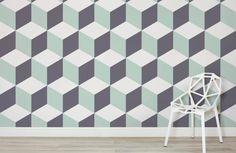 Green Geometric 3D Wallpaper Mural   Murals Wallpaper