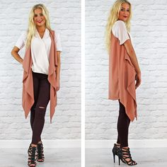 Glamorous Nude Waterfall Long Sleeveless Waistcoat Available Instore And Online www.pinkcadillac.co.uk Pink Cadillac, Workwear, High Fashion, Duster Coat, Waterfall, Nude, Glamour, Stylish, Fabric