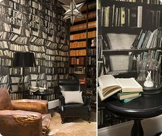 One of those walls is wallpapered. Instant library!