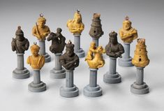 Italian Marble and Basalt Bust Chess Set, c 1875-1900 Italy Marble, Basalt and granite with bronze mounts King: 3 1/4 in. Photo © Bruce M. White, 2013