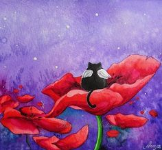 Little Angel in a Poppy Field Night Nursery Art от AnnyaKaiArt