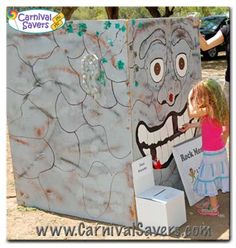 rock-monster-carnival-game - kid puts in an ordinary rock (supplied by the carnival) and gets a prize School Carnival Games, Diy Carnival Games, Carnival Booths, Carnival Prizes, Halloween Carnival, Halloween Games, Carnival Birthday, Carnival Ideas, Diy Games
