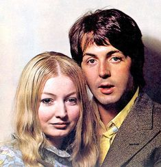 Beatles Fan's photo: Paul with Mary Hopkins (1968) She was one of the first musicians to sign to The Beatles  Apple label.