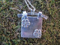 Fine Silver Square Hanger Pendant – Petals and Paisley