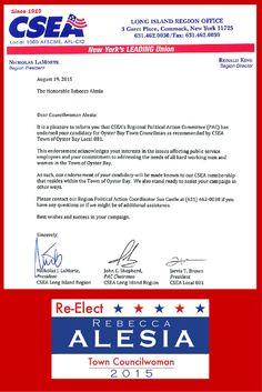 Thank you CSEA for your endorsement.