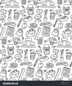 Set of office supplies doodle in white background | My Stock ...