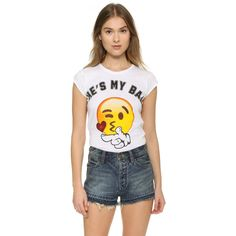 Happiness He's My Bae Emoji Tee ($27) ❤ liked on Polyvore featuring tops, t-shirts, white, white t shirt, short sleeve tee, cotton jersey, crew neck tee and short sleeve t shirt