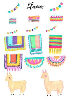 Llama Clip Art - Animal clip art - Cute clip art - Hand drawn - Llama Art - commercial use Alpacas, Watercolor Animals, Watercolor Art, Llamas Animal, Llama Arts, Llama Birthday, Thinking Day, Social Thinking, Elementary Art