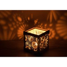 White shade wooden tealight Shadow lantern Candle Holder with... ($13) ❤ liked on Polyvore featuring home, home decor, candles & candleholders, wood candle holders, colored tea lights, wood lantern, colored lanterns and flower stem