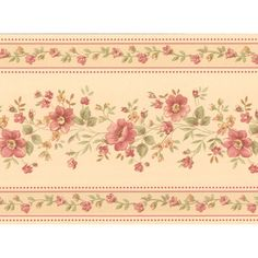 413B05572 Cream Floral Stripe Border - Linda - Brewster Wallpaper