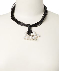 Pearl & Black Leather Multi-Strand Necklace #zulily #zulilyfinds