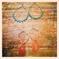 """14kt gold filled wire wrapped """"Sleeping Beauty"""" Turquoise, and faceted Coral with gold framed Pink Calcedony Drop Earring"""