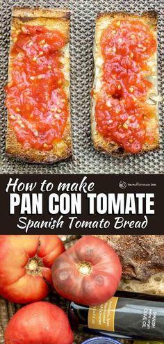You'll fall in love with this easy Pan Con Tomato recipe, a simple Spanish tomato bread made with fresh tomatoes and garlic. A few tips make all the difference! Fresh Tomato Recipes, Veg Recipes, Greek Recipes, Mexican Food Recipes, Cooking Recipes, Spanish Recipes, Fall Recipes, Vegetarian Recipes, Hors D'oeuvres