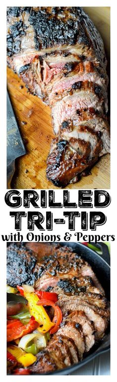 This Simple Grilled Tri-Tip with onions and peppers recipe is perfect for any occasion, juicy and flavorful and sure to be a crowd pleaser! (cooking with venison burger) Grilling Recipes, Meat Recipes, Chicken Recipes, Dinner Recipes, Cooking Recipes, Healthy Recipes, Recipies, Grilling Ideas, Grilled Tri Tip Recipes