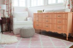 Vintage french provencial dresser painted glossy coral - what an impact this makes in the #nursery!