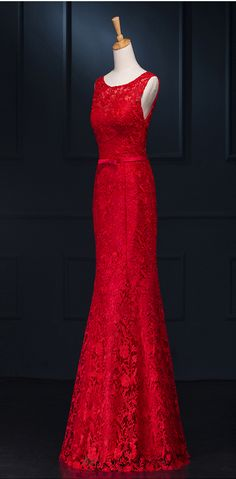 Scoop Neckline Long Red Lace Prom Dresses,Sheath Evening Dresses,Back Up Lace Prom Dress,Open Back Prom Gowns.