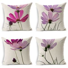 wholesale High quality Small fresh pink flowers Cosmos wedding gift office Cushion cover Decorative home sofa car Pillow case White Cushion Covers, Sofa Cushion Covers, Hand Painted Dress, Painted Clothes, Painting Pottery Plates, Chinese Painting Flowers, Crochet Cushion Cover, Fabric Paint Designs, Pillow Inspiration