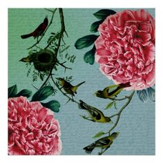 Vintage Peonies and Birds Poster