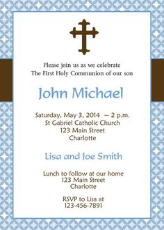First Holy Communion Invitation Boys First by TheButterflyPress, $12.00