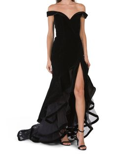 velvet design, cascade ruffle detail, off the shoulder, v-neck, gown, 64in long, taken from size 4, ruffle hem, back zip closure, polyester, imported Witch Dress, Marshalls, Tj Maxx, Evening Gowns, Off The Shoulder, Velvet, V Neck, Clothes For Women, Stylish
