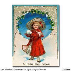 Girl Snowball Four Leaf Clover Shamrock Postcard