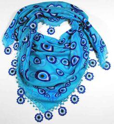 nazar evil eye scarf with crocheted border (link broken) Diy Crochet Accessories, Turkish Eye, Greek Blue, Hippy Chic, Bling Shoes, Look Into My Eyes, Turkish Fashion, Love Crochet, Blue Beads