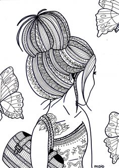 Free coloring page for adults. Girl with tattoo. Gratis kleurplaat voor volwassenen. Meisje met tatoeage.