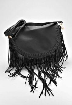 Boho Fringe Leather Crossbody Bag - Black