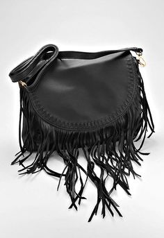 Boho Fringe Leather Crossbody Bag - Black