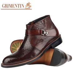 GRIMENTIN hommes bottes en cuir véritable Italien noir brun de luxe mode casual cheville bottes hommes chaussures hommes pour le mariage d'affaires(China (Mainland))