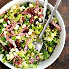 If you asked me about the heartiest, dinner worthy salad that I make, my answer would be Italian Chopped Salad. This Italian Chopped Salad recipe is lighter than a sandwich, with beans for heft rather than bread. But it's equally satisfying. #linkinbio https://pinchandswirl.com/italian-chopped-salad-two/