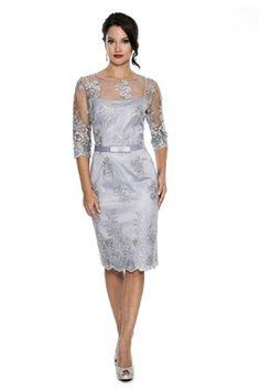 Etui-Linie Juwel-Ausschnitt Knielang Spitze Brautmutterkleider